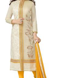 Buy Yellow embroidered chanderi semi stitched salwar with dupatta anarkali-salwar-kameez online
