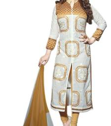 Buy White embroidered cotton semi stitched salwar with dupatta anarkali-salwar-kameez online