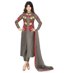 Buy Grey embroidered cotton semi stitched salwar with dupatta anarkali-salwar-kameez online