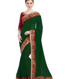 Buy Indian women dark green designer patch and stone and floral design chiffion saree with blouse chiffon-saree online