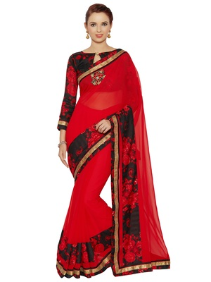 65a75fef9c Indian women Red Plain Sari with Embroidered Border Raw Silk saree with  blouse - Indian Women Fashions Pvt Ltd - 2479925