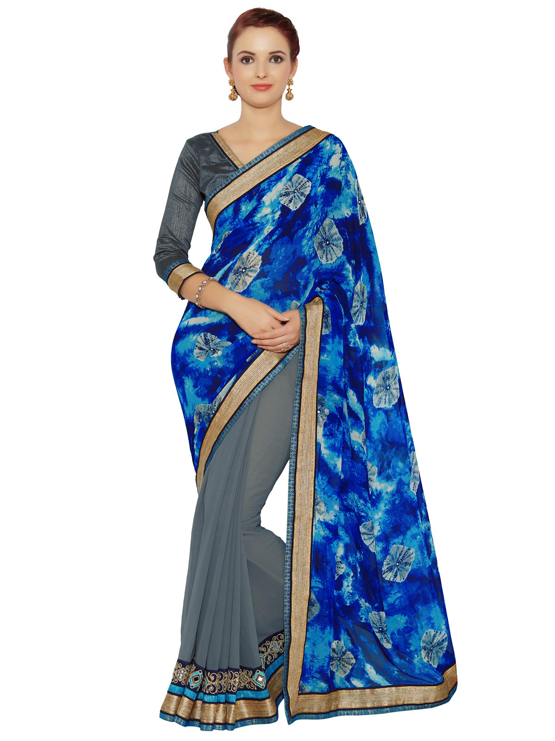 bc6bba9449f Indian women Blue Half and Half Sari and Digital Prints Raw Silk saree with  blouse - Indian Women Fashions Pvt Ltd - 2479929