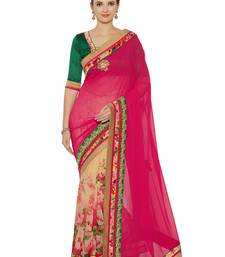 Buy Indian women multicolor Half and Half Sari and Floral Print Raw Silk saree with blouse georgette-saree online