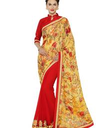 Buy Indian women Yellow and Red Designer Saree with Heavy Work Raw Silk saree with blouse party-wear-saree online