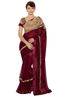 68fb718732 Indian women Maroon Designer Saree with Heavy Work Raw Silk saree with  blouse. Shop Now