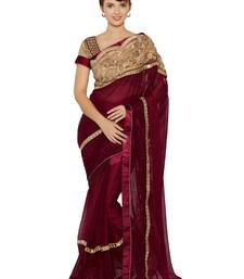 Buy Indian women Maroon Designer Saree with Heavy Work Raw Silk saree with blouse party-wear-saree online