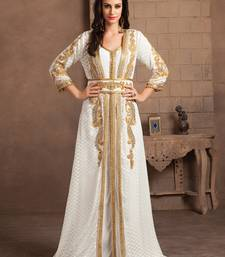 Gleaming Off White Party Wear Handmade Moroccan Style Kaftan