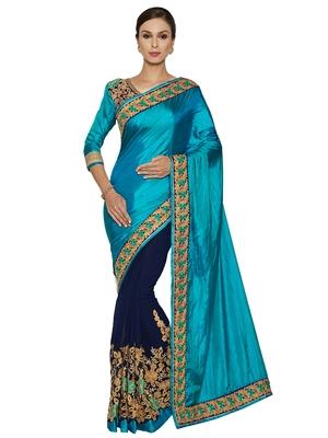 Indian women Cyan Half and Half Sari Raw Silk saree with blouse
