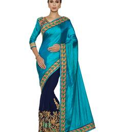 Indian women Cyan Half and Half Sari Raw Silk saree with blouse