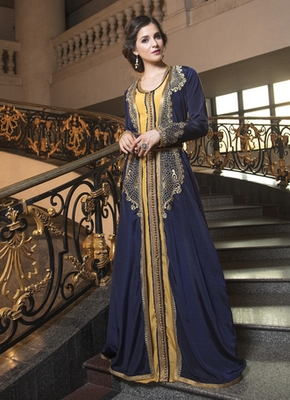 Dark Blue Thread Work Style Fabric Dubai Party Wear Designer Kaftan