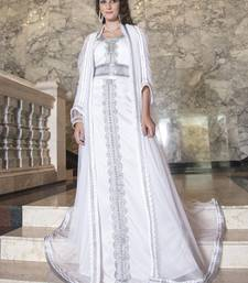 Moroccan Long Sleeve Wedding Kaftan White Color With Lace Work