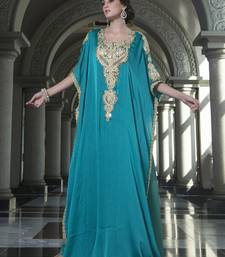 Evening Dress Sea Green Color Arabic Free Size Kaftan