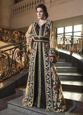 Biscuit Color Designer Embroidery Arabic Moroccan Style Kaftan
