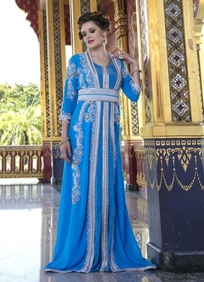 Moroccan Style Kaftan Blue Firoji Color With Pearl And Stone Work