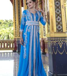 Moroccan Style Caftan Blue Firoji Color With Pearl and Stone Work