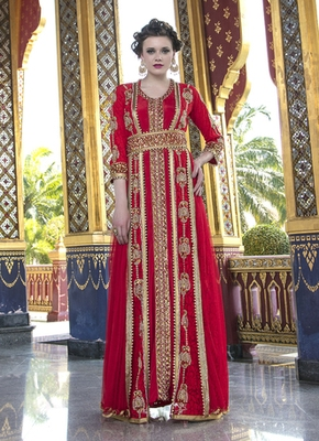 9532890f0d Moroccan Style Wedding Dress With Net Brasso and Lace Work Red Color Kaftan