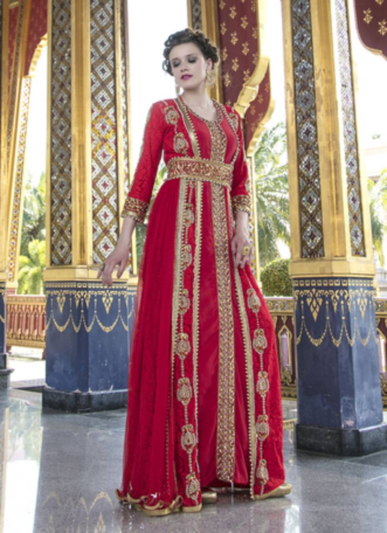 d04e6da17a Moroccan Style Wedding Dress With Net Brasso and Lace Work Red Color Kaftan  ...