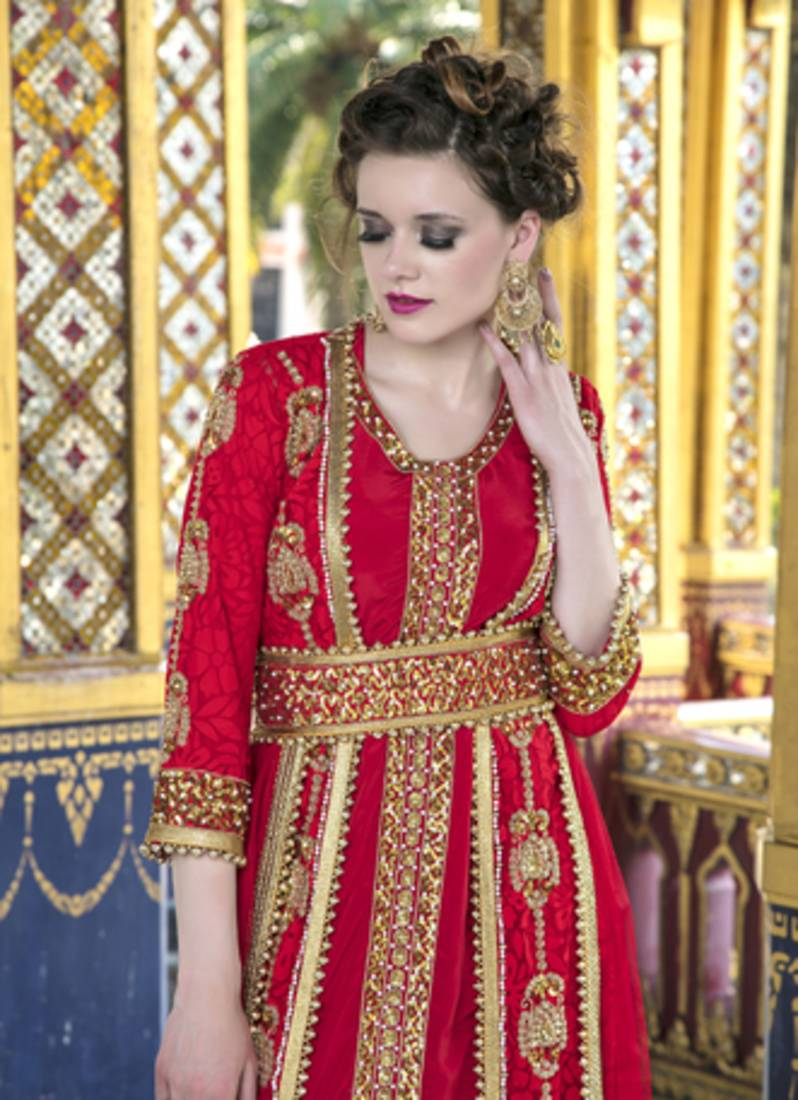 cbd51fb4b6 ... Moroccan Style Wedding Dress With Net Brasso and Lace Work Red Color  Kaftan