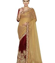 Buy Indian women Gold Half and Half Sari Raw Silk saree with blouse party-wear-saree online