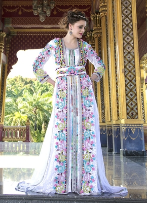 Moroccan Style Long Sleeve White Color Wedding Kaftan With Rose And Stone Work