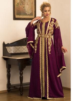 Violet Jacket Style Moroccan Wedding Kaftan