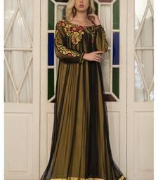 Buy Gold Yellow Embroidery Full Sleeve Formal Maxi Dress islamic-kaftan online