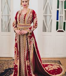 Maroon Long Sleeve Arabic Wedding Kaftan
