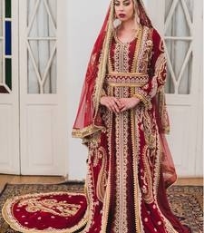 Maroon Moroccan Style Long Sleeve Wedding Kaftan With Trail