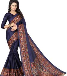 Buy Dark navy blue printed khadi saree with blouse kalamkari-saree online