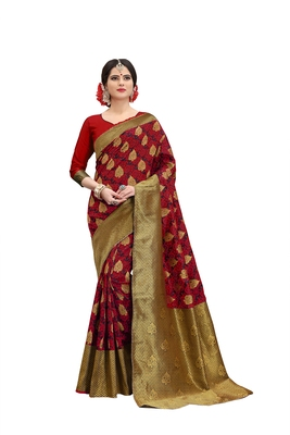 Red banarasi art silk  saree with blouse