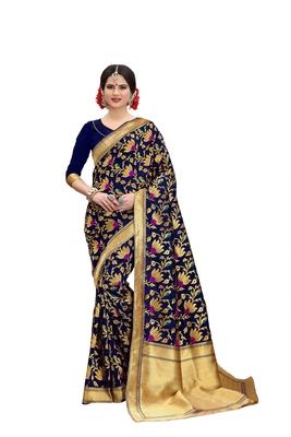 Navyblue woven banarasi art silk saree with blouse