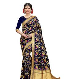 Buy Navyblue woven banarasi art silk saree with blouse women-ethnic-wear online