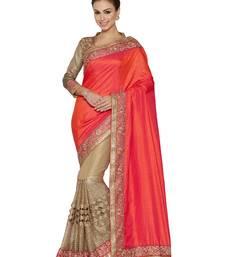 Buy Indian women Orange Half and Half Sari Raw Silk saree with blouse party-wear-saree online