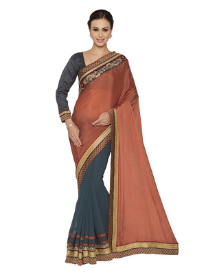 Indian women Grey Half and Half Sari Raw Silk saree with blouse