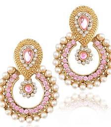 Pearl ethnic light baby pink India Pakistan tradition Bollywood jewelry earring