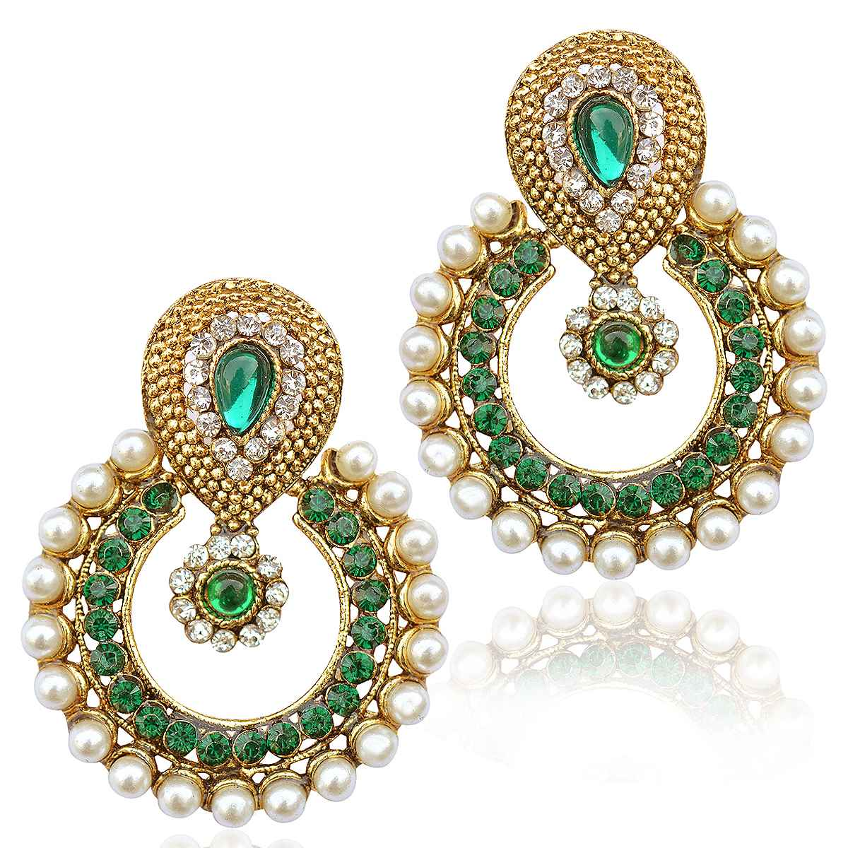 4cb469593 Pearl ethnic green India Pakistan tradition Bollywood jewelry earring -  Dancing Girl - 334376