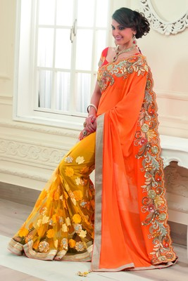 Mustard Georgette & Net combo Applique & Stone worked saree-SR6042