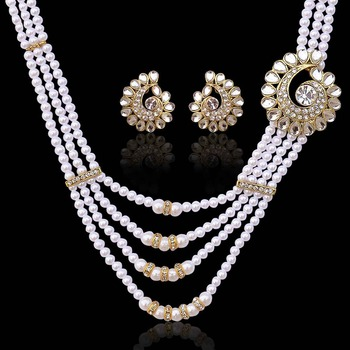 Sparkling kundan flower with pearl beads necklace set