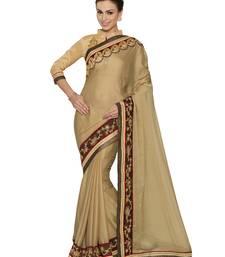 Buy Indian women Beige Plain Sari with Embroidered Border Raw Silk saree with blouse chiffon-saree online