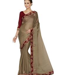 Indian women Brown Designer Chiffion saree with blouse