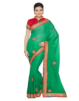 Indian women Green Designer Saree with Heavy Work Raw Silk saree with blouse