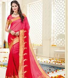 Buy Red plain tussar silk saree with blouse tussar-silk-saree online