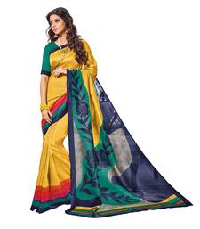 Buy Yellow printed silk saree with blouse printed-saree online