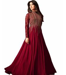 Buy Maroon embroidered georgette salwar anarkali-salwar-kameez online