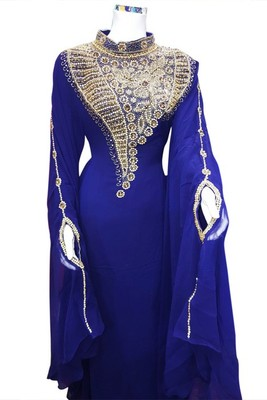Blue Beads and Stone Work Georgette Hand Stiched Arab Islamic farasha
