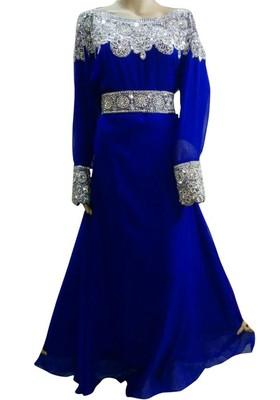 Blue Beads and Stone Work Georgette Hand Stiched Arab Islamic farasha
