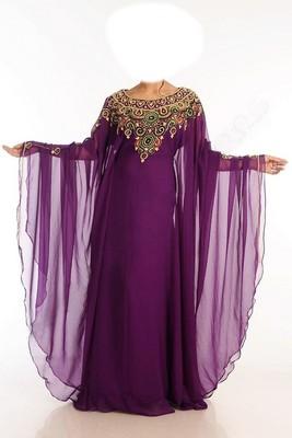 Purple Beads and Stone Work Georgette Hand Stiched Arab Islamic farasha
