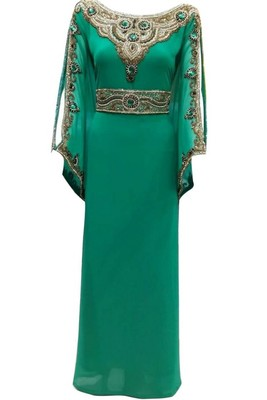 Green Beads and Stone Work Georgette Hand Stiched Arab Islamic farasha