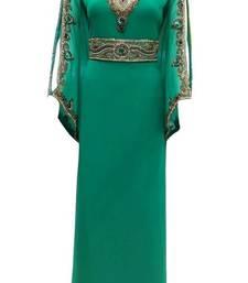 Green Beads and Stone Work Georgette Hand Stiched Arab Islamic farasha