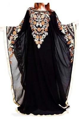 Black Embroidery Work Georgette Hand Stiched Arab Islamic farasha